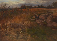 autumnal pastoral landscape with a dog & a flock of sheep in a trail by elmer boyd smith