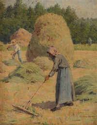 workers in a hayfield by elmer boyd smith