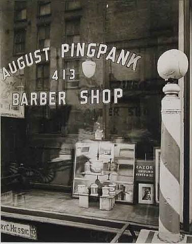 pingpank barbershop, 413 bleeker street, manhattan, may 18, 1938 by berenice abbott