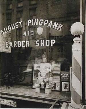 pingpank barbershop, 413 bleeker street, manhattan, may 18, 1938 by berenice abbott