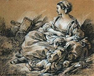 mère et son enfant se reposant by françois boucher