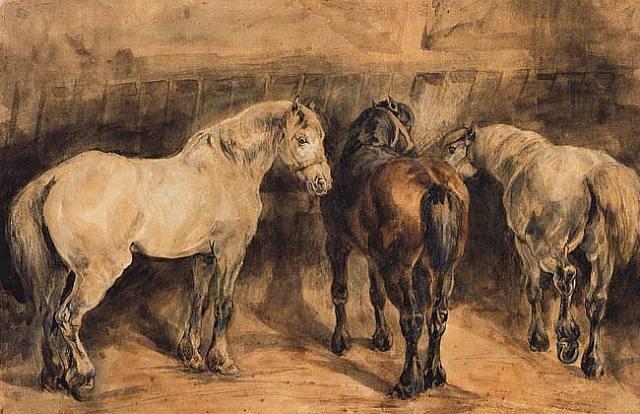 trois chevaux dans leur écurie by théodore géricault