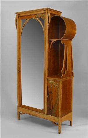 French Art Nouveau Maple Inlaid Armoire Cabinet by Leon Benouville ...