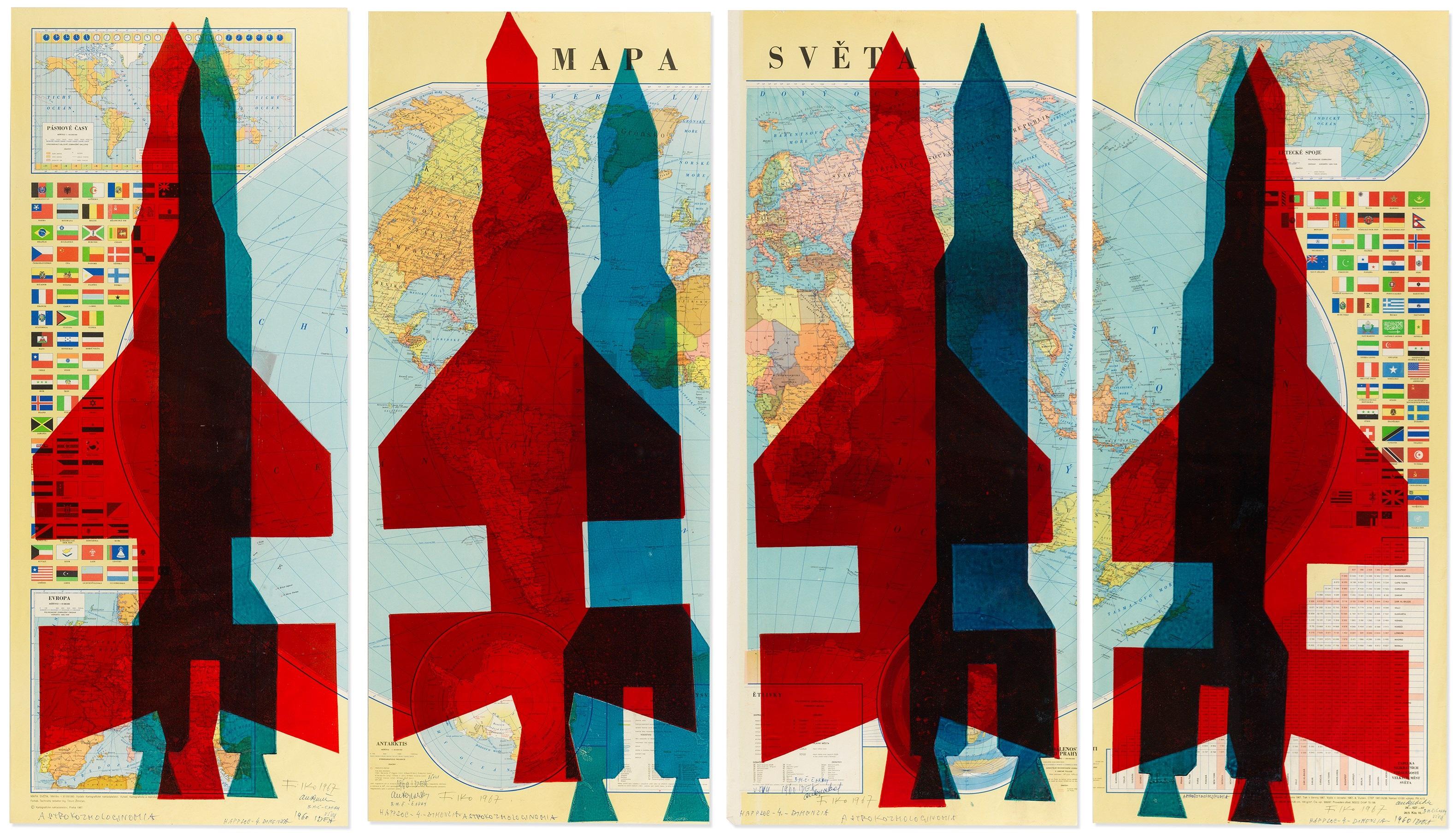 Map Of The World Rockets By Stano Filko On Artnet