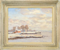 winter coastline with colonial homestead by james emery greer