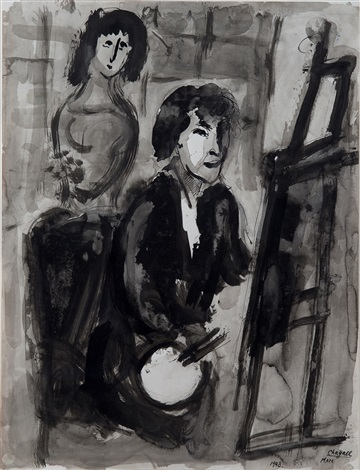 Le peintre au chevalet by marc chagall on artnet for Chagall peintre
