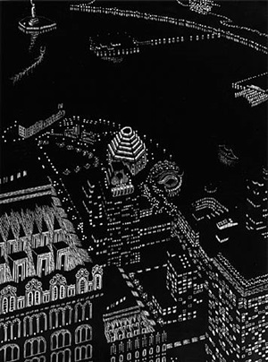 new york harbor composite, woodcut by yvonne jacquette