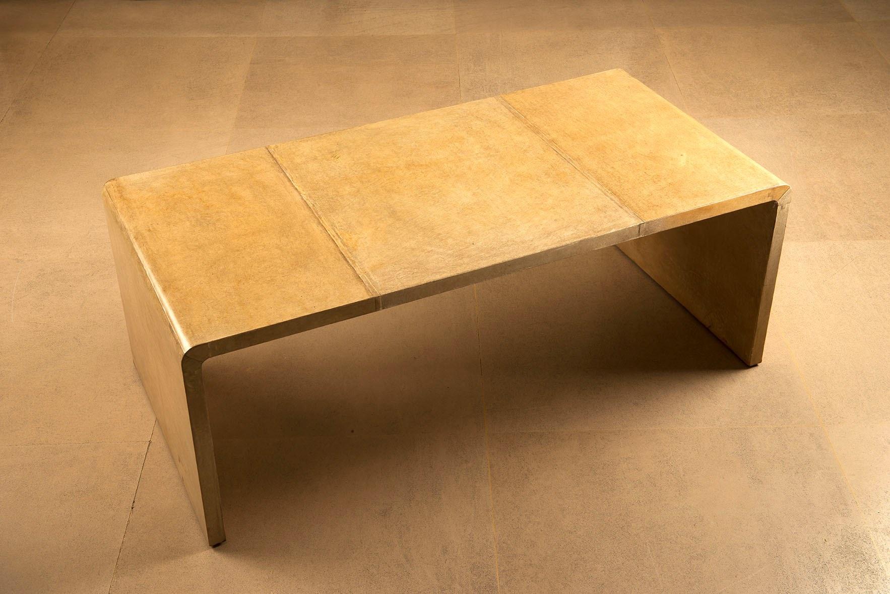 Table Basse En U Inversé Gainée De Parchemin By Jean Michel Frank On