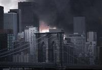 View over Brooklyn Bridge to Manhattan, 2001