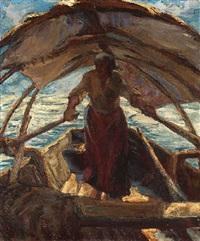auf dem see. frau unter sonnensegel auf einem ruderboot by alfeo argentieri