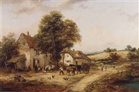 <i>a farmyard with figures & horses</i> by georgina lara