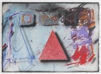 komposition med röd triangel by jorgen waring