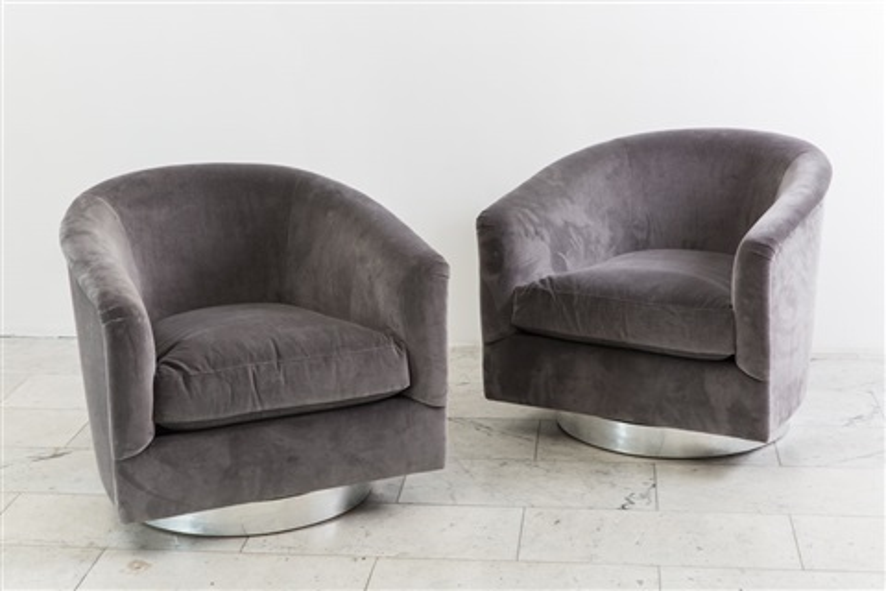 Pair Dark Gray Swivel Chairs By Milo Baughman