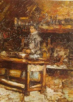 madame dufour in her kitchen by adolphe joseph thomas monticelli