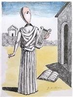 la musa della storia, hebdomeros (muse of history, harpist) by giorgio de chirico
