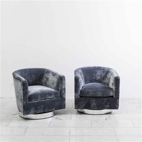 Pair Of Dark Grey Swivel Chairs By Milo Baughman