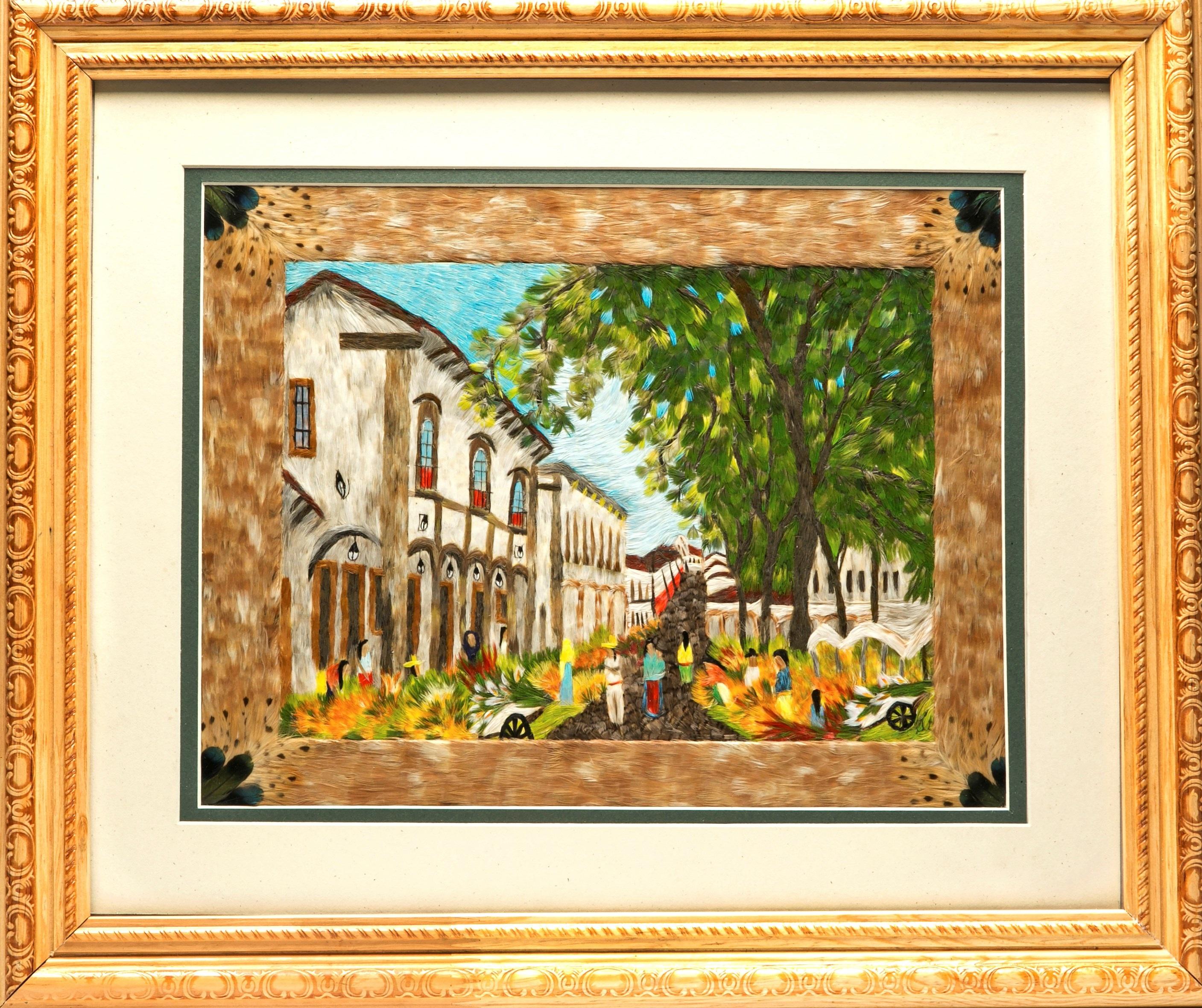 Patzcuaro Tianguis De Flores Mexican Folk Art Featherwork Frame By