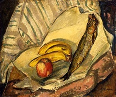 still life with bananas, apple and trout by alfred henry maurer