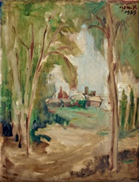 landscape with trees by aharon avni