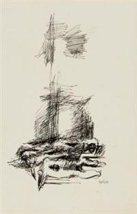 gestürzte (for heinrich von kleist, das erdbeben in chili) (+ another (sketch); verso) (+ stürzender, etching, smllr.; 3 works) by hubertus von pilgrim