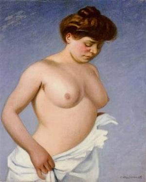 femme tenant sa chemise by félix edouard vallotton