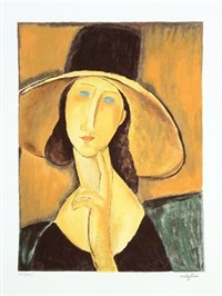 portrait of a woman with hat by amedeo modigliani