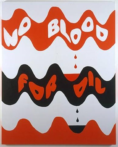 rob pruitt + marimekko: no blood for oil (lokki) by rob pruitt