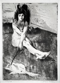 Minne Playing with a Cat, 1907. Jacques Villon. Minne Playing ... db035c5e12f