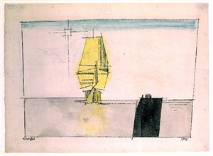 barque with yellow sails and pier with figures by lyonel feininger