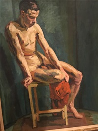 Seated Male Nude, 1938