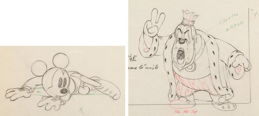Brave Little Tailor Mickey Mouse And King Animation Drawings Group Of 2 Walt Disney 1938 Total 2 Original Art By Walt Disney Studios On Artnet