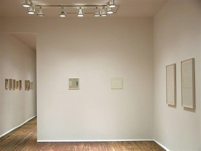 installation view of <b>marcia hafif</b> and <b>robert ryman</b> drawings<br> (checklist 10. - 11. and 12. - 13.)<br>through doorway <b>robin miller</b> drawings [right to left] by marcia hafif