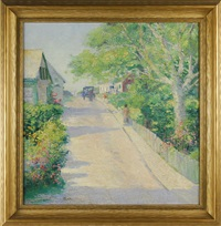 summer street scene (nantucket?) with pedestrians and horse-drawn buggy by henry stephens eddy