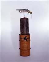 untitled (doublebarrel 12 gauge shotgun on base) by tom sachs