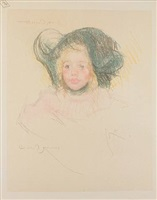 head of simone in a green bonnet with wavy brim (no. 2) by mary cassatt