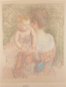 baby charles looking over his mother's shoulder (no. 2) by mary cassatt