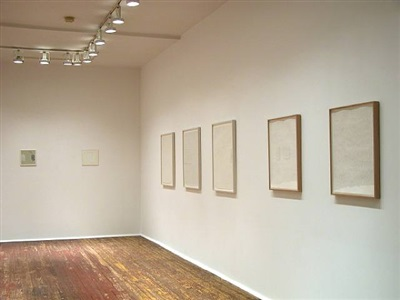 installation view of <b>marcia hafif</b> and <b>robert ryman</b> drawings<br> (checklist 7. - 11. and 12. - 13.)<br>[right-left] by marcia hafif
