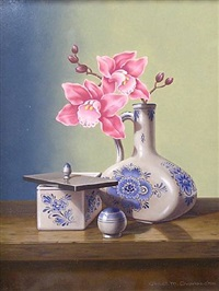 still life with delfts blue and orchids by chris overbeeke