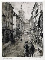 rue du gros horloge a rouen by camille pissarro