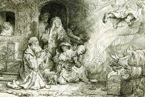 the angel departing from the family of tobias by rembrandt van rijn