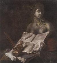 variastilleben mit büste, aufgeschlagenem folianten und einer kleinen cupido-figur by adriaen de valck