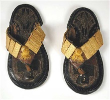 akan leather sandals with gold ornaments - pf.6126
