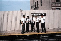 mormon missionaries looking at a new york city subway map, freeman street station, south bronx by camilo josé vergara