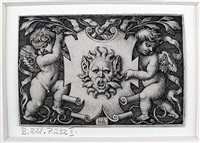 a mask held by two genii by hans sebald beham