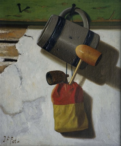 Still Life with Mug, Pipes and Tobacco Pouch hanging against