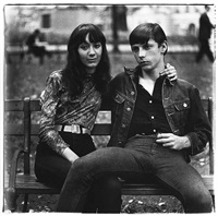 Young couple on a bench in Washington Square , 1965