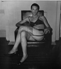 Seated man in a bra and stockings, N.Y.C., 1967