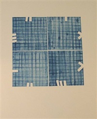 blue square in blue squares by stephen buckley