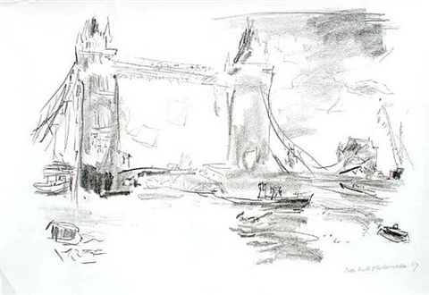 london from the river thames by oskar kokoschka