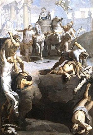 louis xiv sur un char de triomphe guidé par minerve et la tranquillité passe devant les statues de charlemagne, clovis, dagobert... by charles le brun